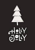 Holly Jolly - Cute hand drawn Christmas postcard with lettering and doodle ellements. New Year phrase and quote.