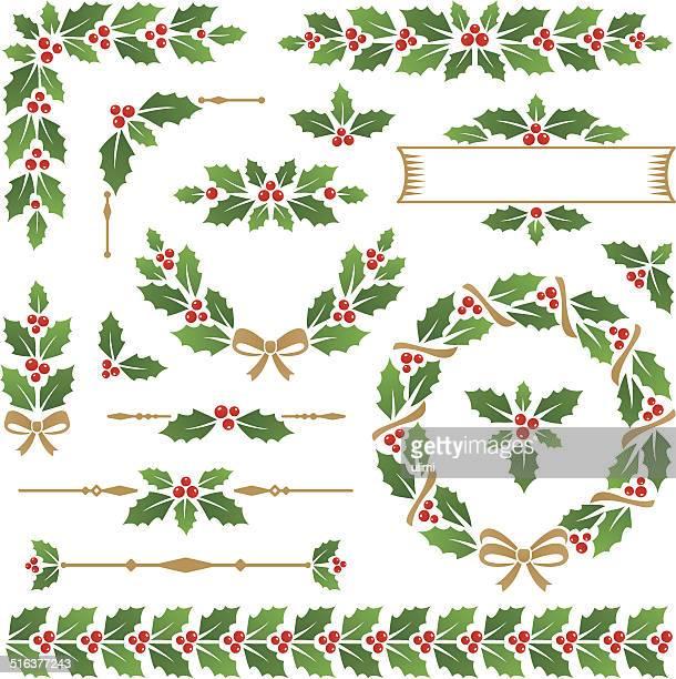 holly - christmas wreath stock illustrations