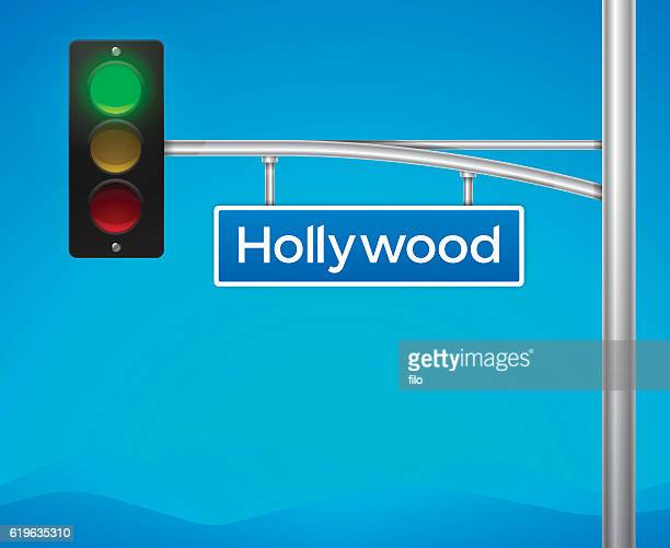 hollywood boulevard street intersection sign - road signal stock illustrations