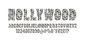 Hollywood. Color Golden alphabet with show lamps.