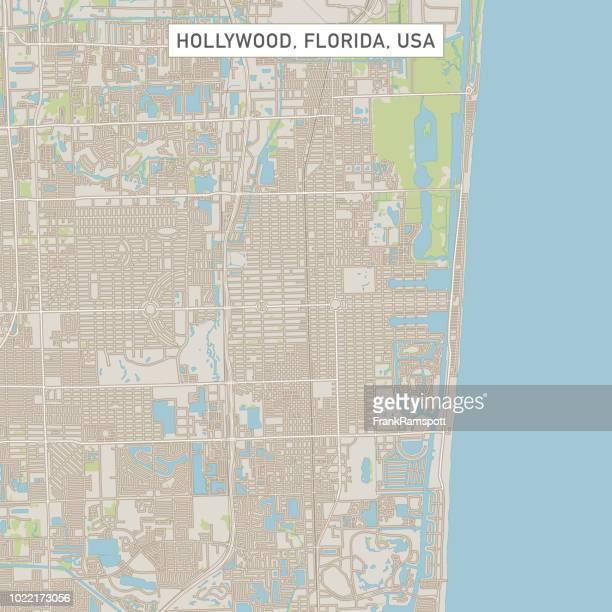 ハリウッド フロリダ米国街マップ - フロリダ州ハリウッド点のイラスト素材/クリップアート素材/マンガ素材/アイコン素材