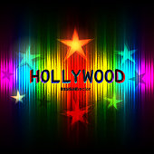 Hollywood rainbow striped color with text