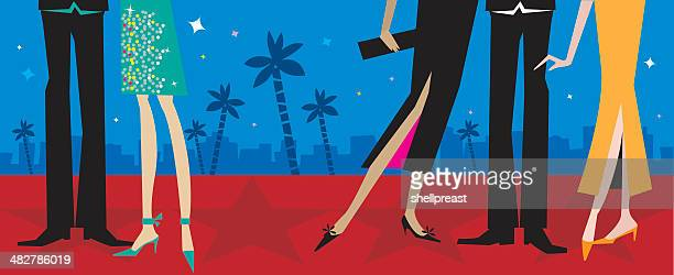 hollywood red carpet fashions - actor stock illustrations