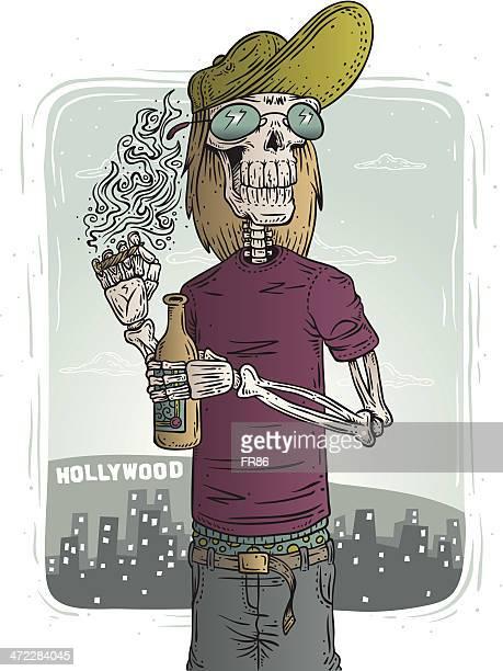 ilustraciones, imágenes clip art, dibujos animados e iconos de stock de hollywood esqueleto - fumar marihuana
