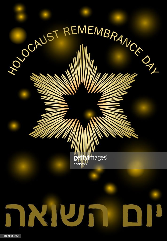 Holocaust remembrance day leaflet with golden Star of David, blurry small stars and hebrew inscription Yom hashoah, elegant golden design