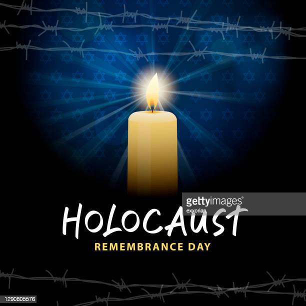 holocaust remembrance day with candle - holocaust remembrance day stock illustrations