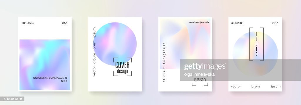 Holographic cover set. Abstract backgrounds.