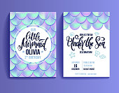 Holographic mermaid tail card or background. Mesh Gradient mermaid card for party. Mermaid card decor element.
