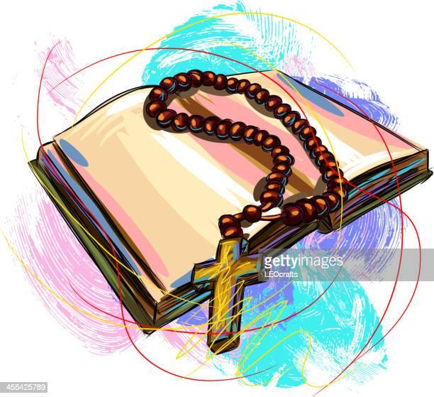ilustrações, clipart, desenhos animados e ícones de bíblia sagrada e de terço - bíblia
