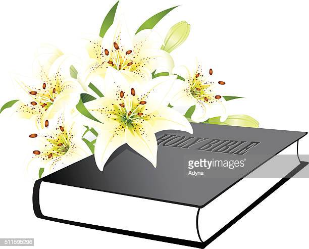holy bible - easter lily stock illustrations