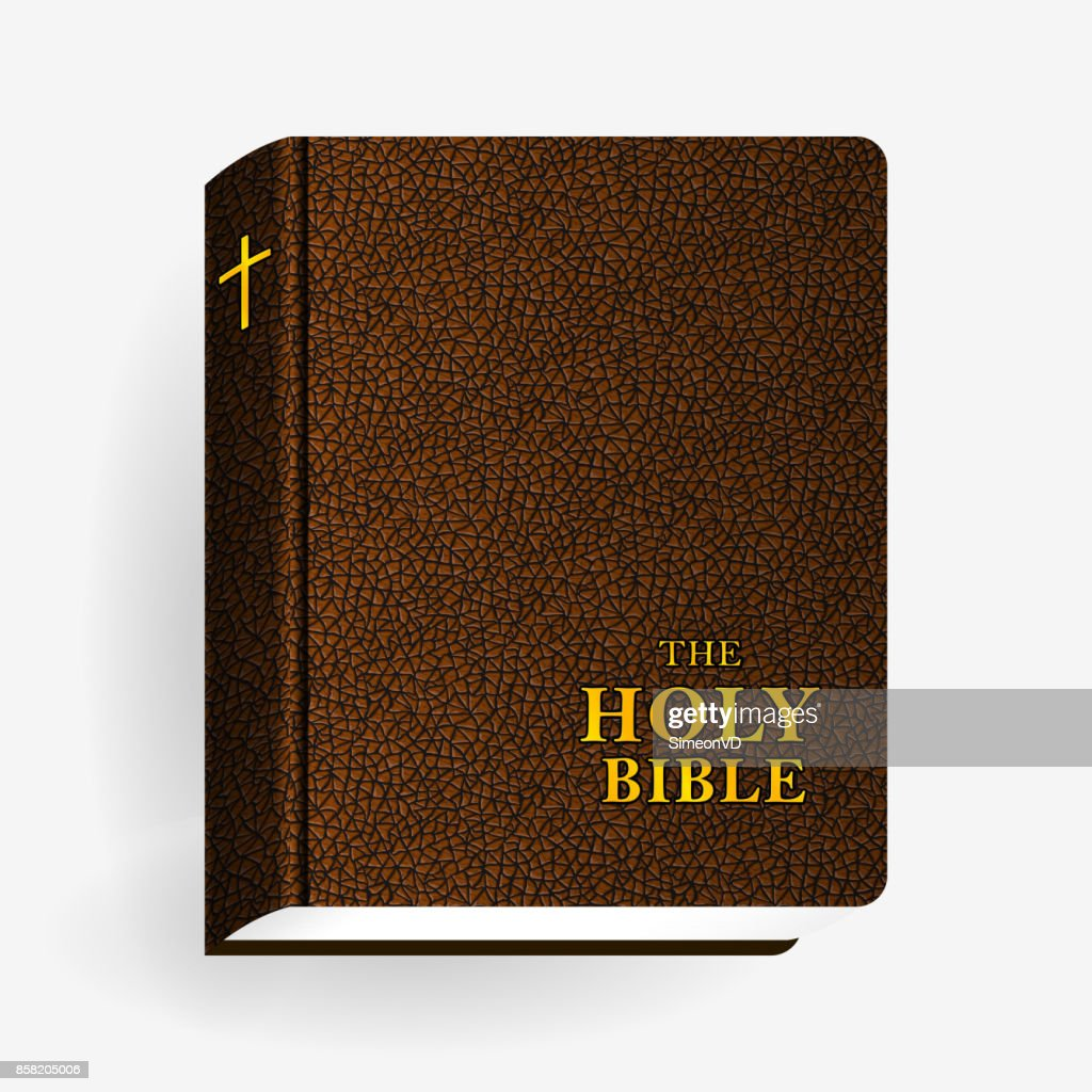 Holy Bible. Vector Leather Brown Book