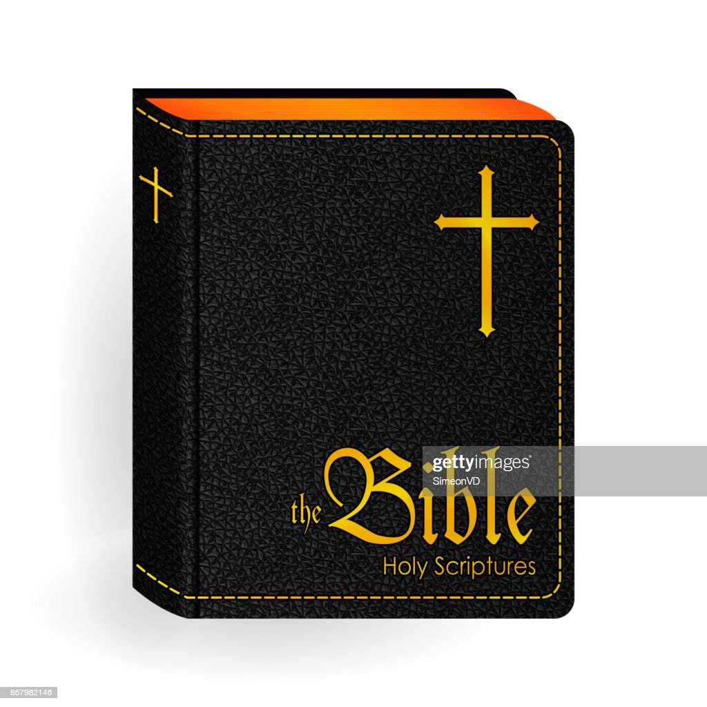 Holy Bible. Vector Vintage Leather Black Book