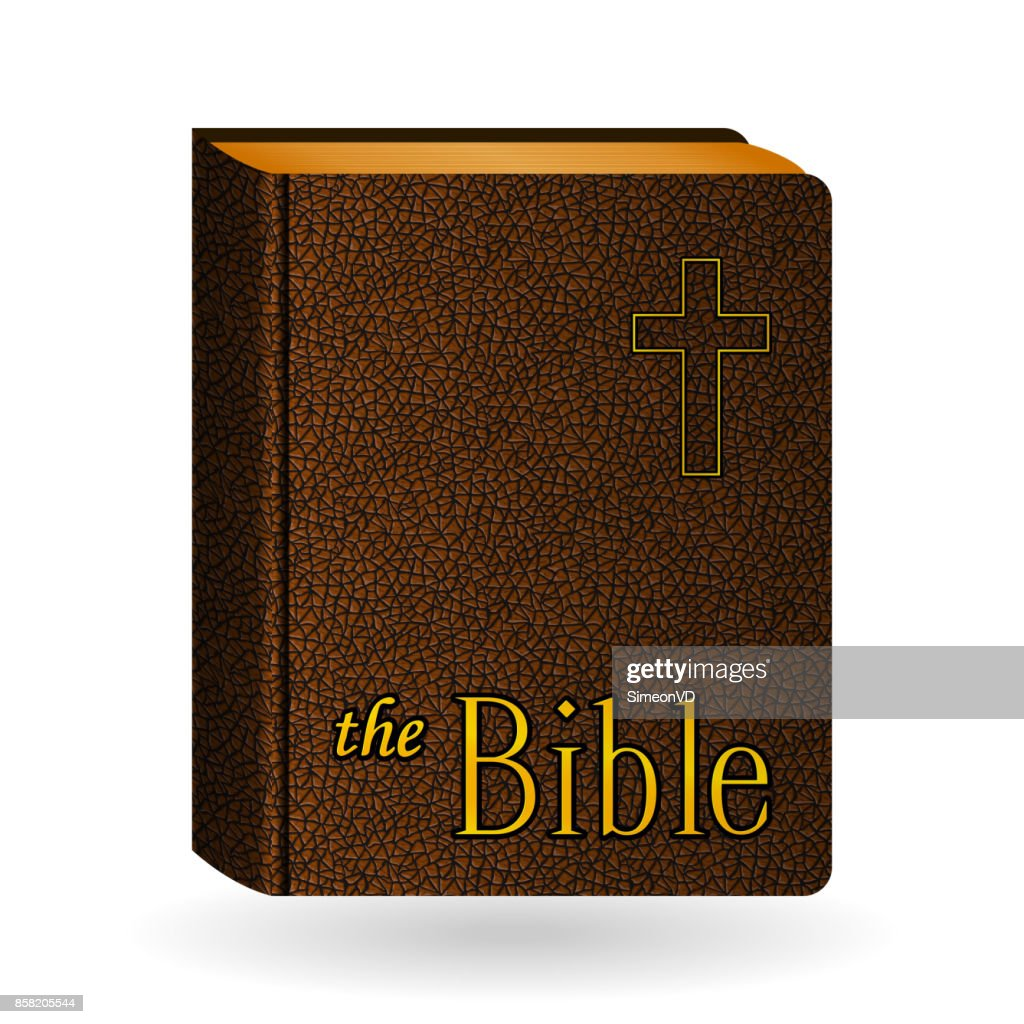 Holy Bible. Vector Vintage Leather Brown Book