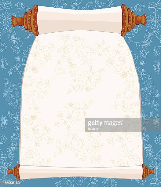 holy book scroll on floral background - passover stock illustrations