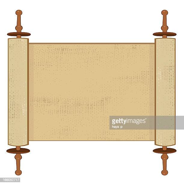 holy book scroll on white background - prayer book stock illustrations