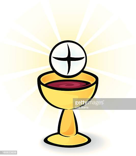 holy communion bread and wine - mass stock illustrations
