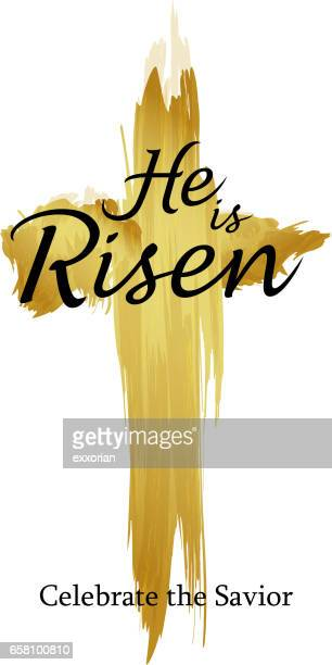 holy cross he is risen - jesus christ stock illustrations, clip art, cartoons, & icons