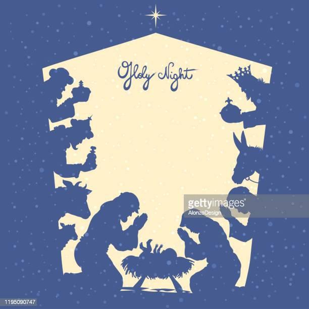 holy family and christmas star - nativity scene stock illustrations