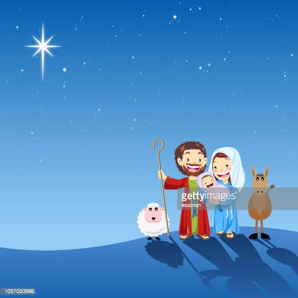 holy family in holy night - jesus christ stock illustrations, clip art, cartoons, & icons