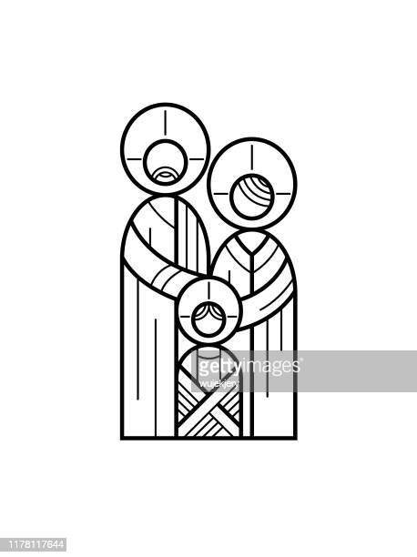 holy family, jesus as a child with mary and joseph - linear illustration, icon - religion stock illustrations