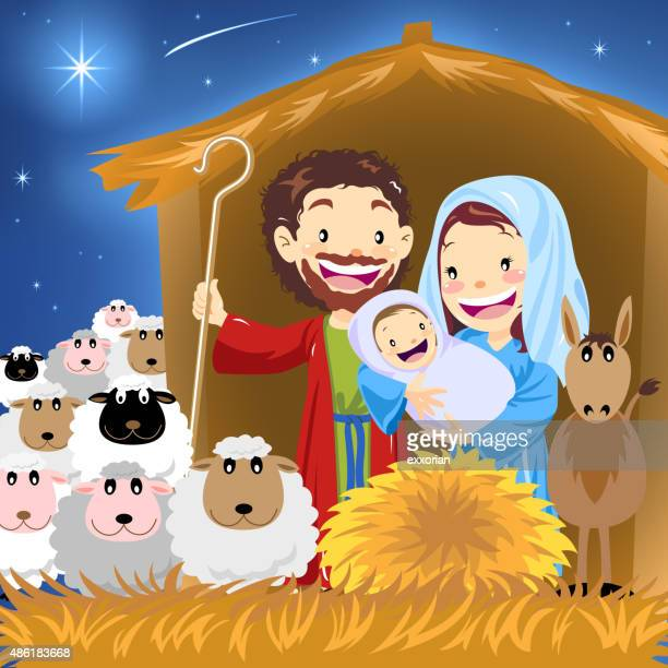 holy family - jesus stock illustrations, clip art, cartoons, & icons
