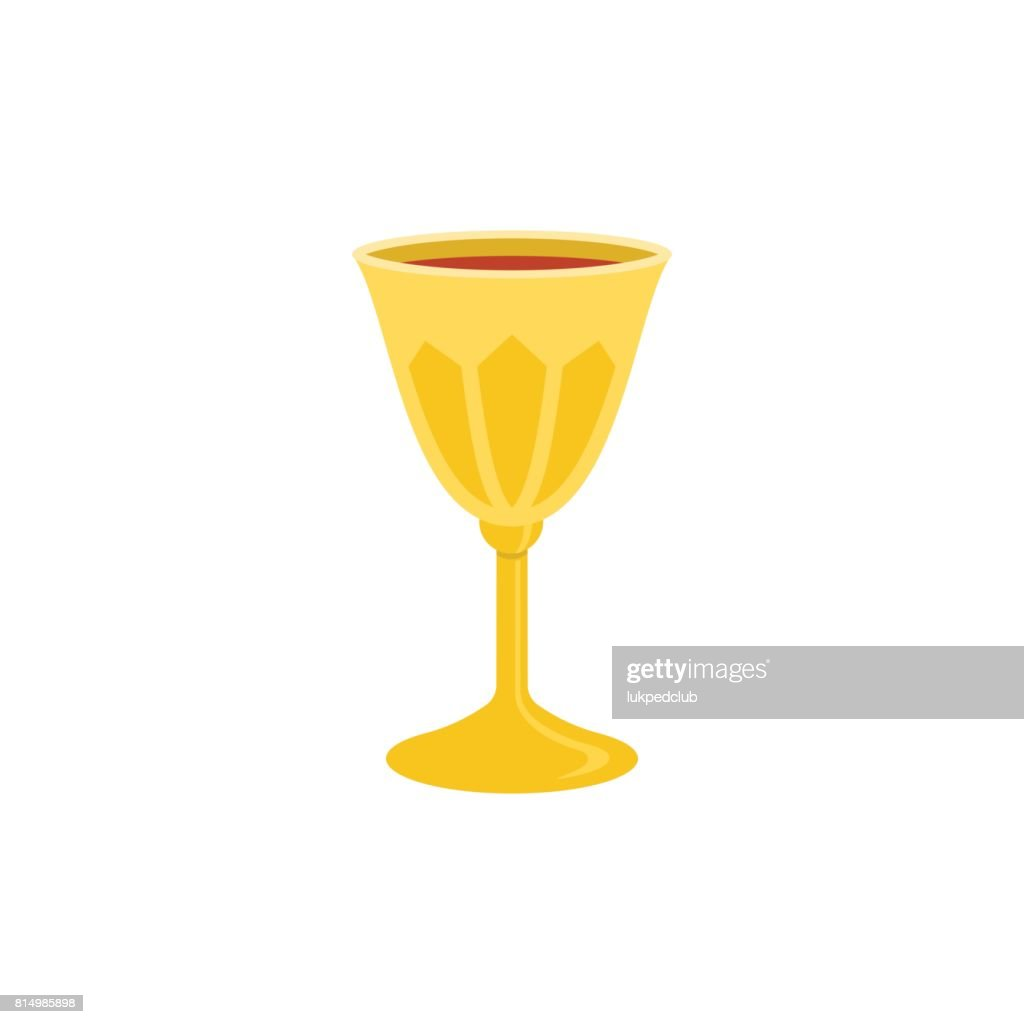 holy grail or chalice with red wine illustration
