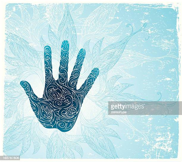 holy hand - acupuncture stock illustrations, clip art, cartoons, & icons