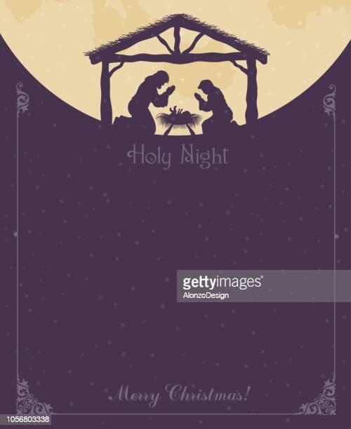 ilustrações, clipart, desenhos animados e ícones de cena de noite santa - bíblia