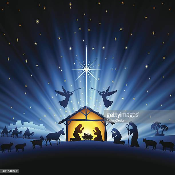 holy night scene - nativity scene stock illustrations