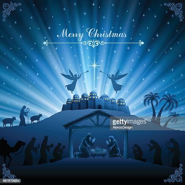 ilustraciones, imágenes clip art, dibujos animados e iconos de stock de mezquita escena nocturna - nacimiento de navidad
