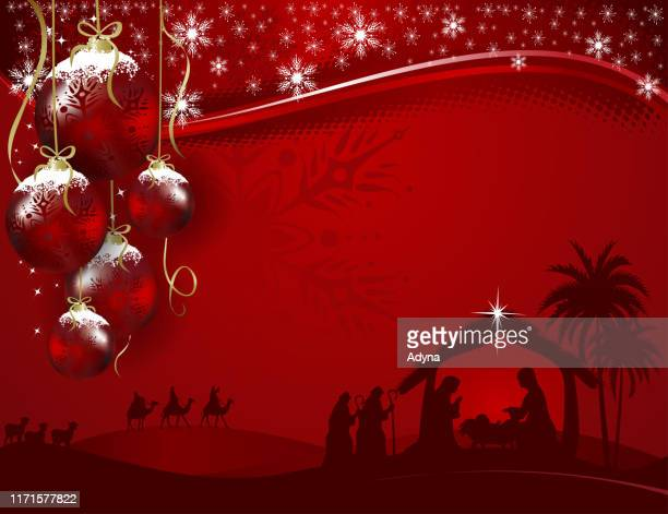 holy night - christmas crib stock illustrations