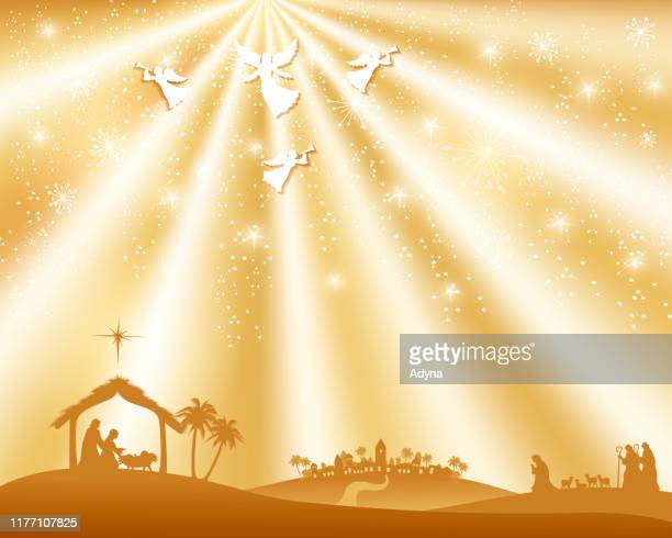 holy night - annunciation stock illustrations, clip art, cartoons, & icons