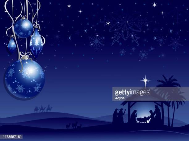 holy night - nativity scene stock illustrations