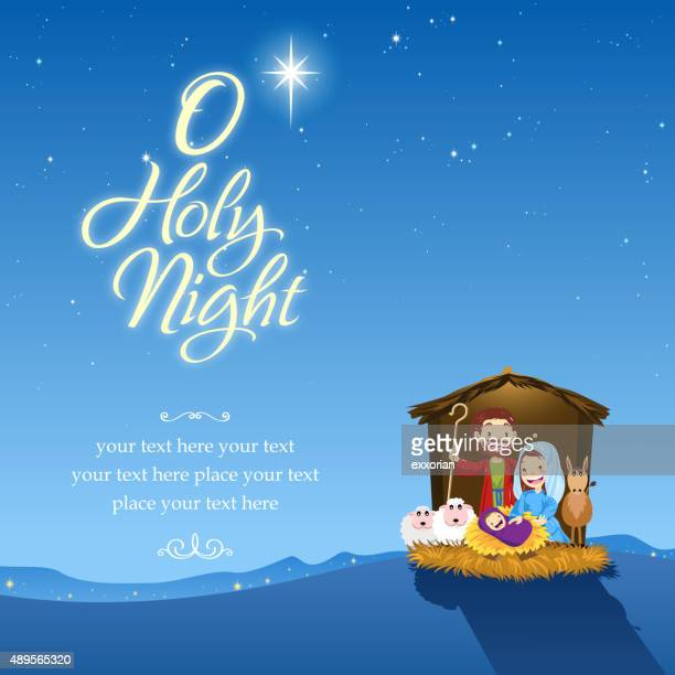 o holy night - nativity scene stock illustrations