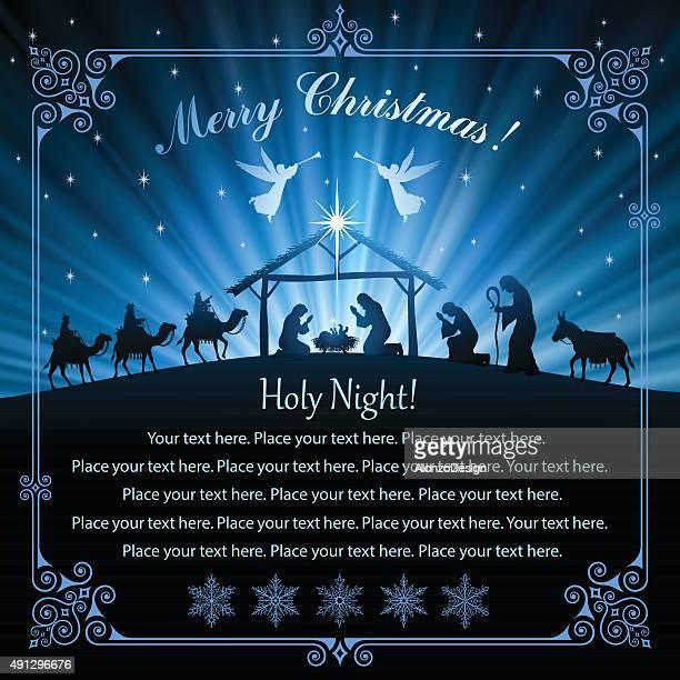 ilustraciones, imágenes clip art, dibujos animados e iconos de stock de a la noche - nacimiento de navidad