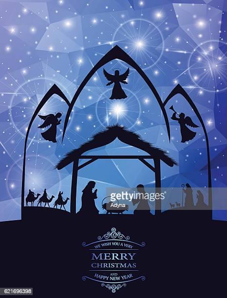 holy night - nativity scene stock illustrations, clip art, cartoons, & icons