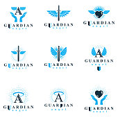 Holy spirit graphic vector signs collection, can be used in charity and catechesis organizations. Vector emblems created using battle swords, loving hearts and guardian shields.