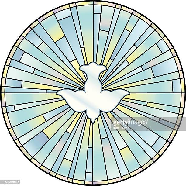 holy spirit stained glass window - spirituality stock illustrations, clip art, cartoons, & icons