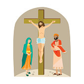 Holy week Good Friday, crucifixion of Jesus and his death, Stations of Cross, God Passion, Easter Triduum vector illustration