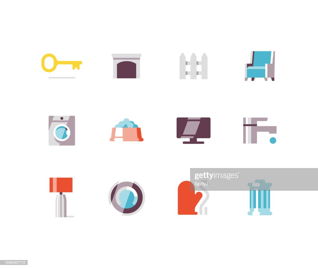 Home Accessories Flat icons : stock illustration