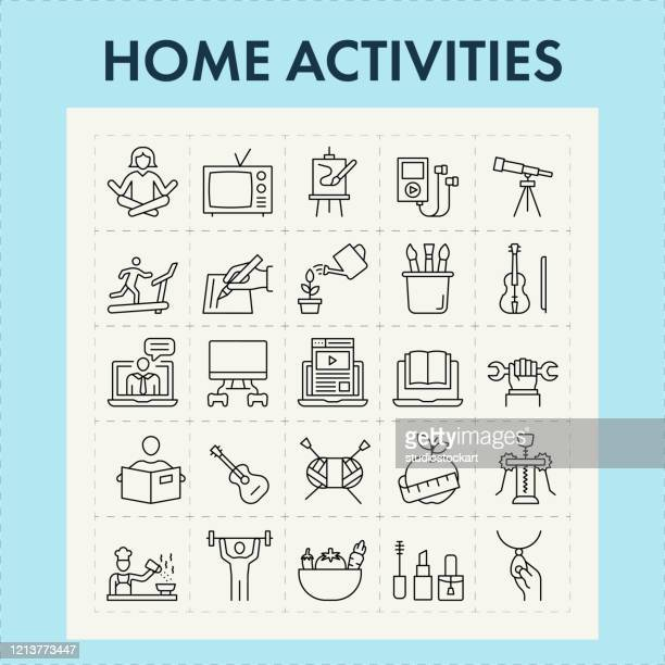 home activities line icon set - leisure activity stock illustrations