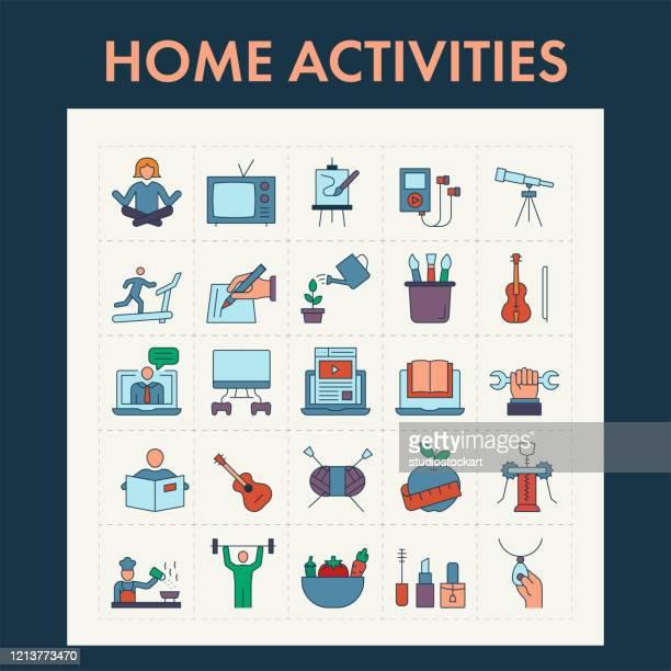 ilustrações, clipart, desenhos animados e ícones de conjunto de ícones da linha de atividades domésticas - quarentena