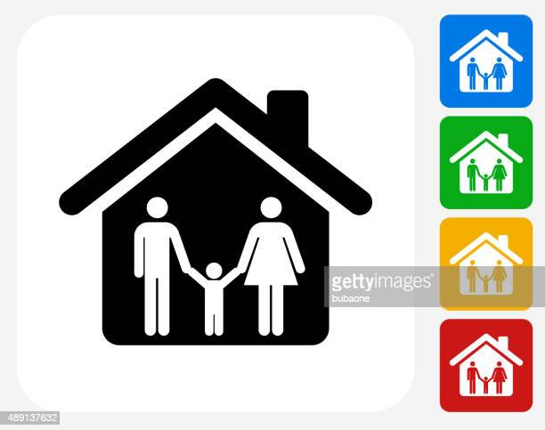 Home and Family Icon Flat Graphic Design
