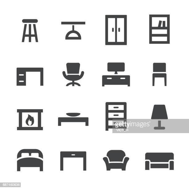 home and furniture icons - acme series - domestic room stock illustrations, clip art, cartoons, & icons