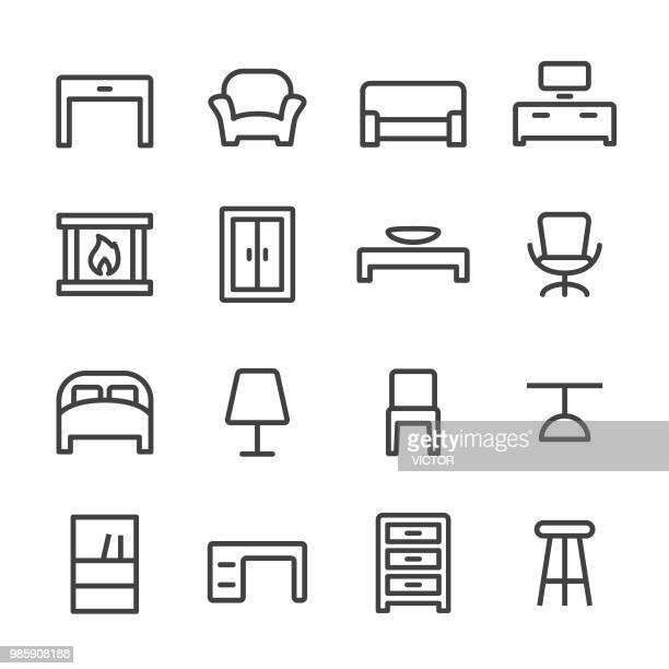 home and furniture icons - line series - display cabinet stock illustrations, clip art, cartoons, & icons