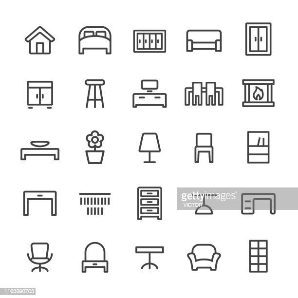 home and furniture icons - smart line series - display cabinet stock illustrations, clip art, cartoons, & icons