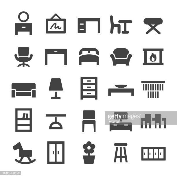home and furniture icons - smart series - display cabinet stock illustrations, clip art, cartoons, & icons