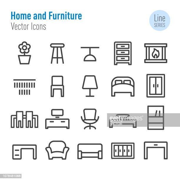 home and furniture icons - vector line series - display cabinet stock illustrations, clip art, cartoons, & icons
