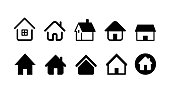 home and house icon set. vector illustration image.