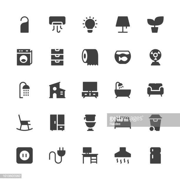 home and living icons - gray series - toilet planter stock illustrations